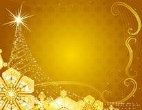 Fondo amarillo de la Navidad con los copos de nieve. Imagen de archivo libre de regalías