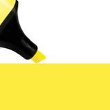 Fondo amarillo de la pintura del marcador, primer detallado grande de la macro del espacio de la copia Foto de archivo