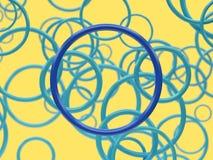 Fondo amarillo de la representación azul de la forma 3d del círculo libre illustration