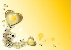 Fondo amarillo de las tarjetas del día de San Valentín Foto de archivo libre de regalías