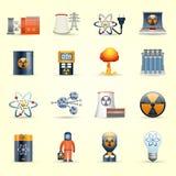 Fondo amarillo de los iconos de la energía nuclear Fotos de archivo libres de regalías