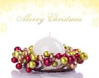 Fondo amarillo de Navidad, tarjeta Foto de archivo libre de regalías