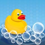 Fondo amarillo del concepto del jabón de la espuma del pato, estilo de la historieta stock de ilustración