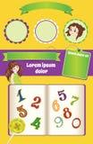 Fondo amarillo del vector para la plantilla de la historieta del niño ilustración del vector