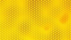 Fondo amarillo hermoso del hexagrid con el movimiento de ondas lento bucle metrajes