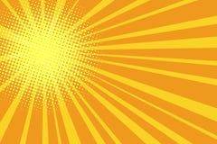 Fondo amarillo-naranja retro del arte pop stock de ilustración