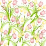 Fondo amarillo rosado de los tulipanes del resorte stock de ilustración