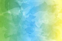 Fondo amarillo, verde y azul abstracto de la acuarela imagen de archivo