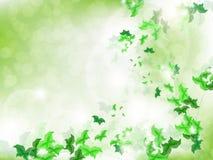 Fondo ambiental con las mariposas verdes de la hoja Imagen de archivo libre de regalías
