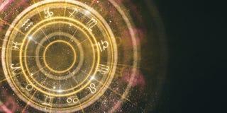 Fondo ambrato astratto della ruota dello zodiaco royalty illustrazione gratis