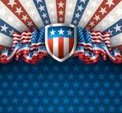 Fondo americano con el escudo Imágenes de archivo libres de regalías