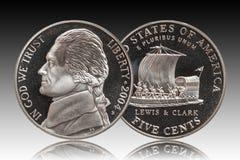 Fondo americano de la pendiente de cinco centavos fotos de archivo libres de regalías
