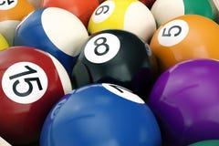 fondo americano de las bolas del billar de la piscina del ejemplo 3D Billar americano ciérrese encima de bolas de billar Juego de Imagen de archivo libre de regalías