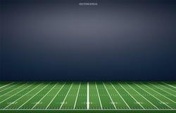 Fondo americano del estadio de fútbol con la línea modelo de la perspectiva de campo de hierba stock de ilustración