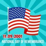 Fondo americano di giorno di ricordo nazionale, stile piano illustrazione vettoriale
