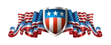 Fondo americano patriótico con el escudo ilustración del vector