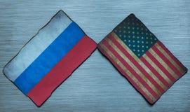Fondo americano y ruso de la bandera Fotos de archivo libres de regalías