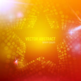 fondo anaranjado abstracto de la estrella de la malla 3D con los círculos, las llamaradas de la lente y las reflexiones que brill Fotos de archivo