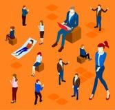 Fondo anaranjado con la gente aislada de la oficina libre illustration