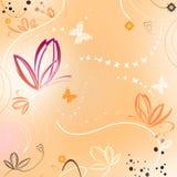 Fondo anaranjado con las flores y las mariposas Fotografía de archivo