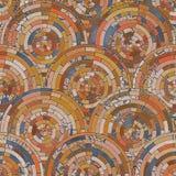 Fondo anaranjado del mosaico inconsútil y azul radial Fotografía de archivo