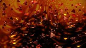fondo anaranjado del movimiento de Loopable de los triángulos del extracto del vuelo 3D