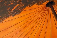 Fondo anaranjado del paraguas Imágenes de archivo libres de regalías