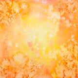 Fondo anaranjado dibujado mano de la acuarela del vector Imagen de archivo libre de regalías
