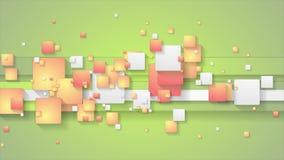 Fondo anaranjado verde abstracto del movimiento con los cuadrados
