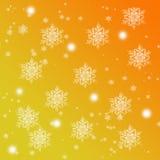 Fondo anaranjado y amarillo de la pendiente con los copos de nieve ilustración del vector