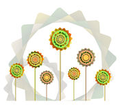Fondo anaranjado y verde geométrico de las flores libre illustration