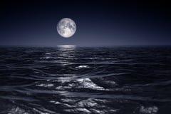 fondo ancho de la noche de la luna del horizonte de las olas oceánicas libre illustration