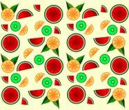Fondo, anguria, arancia e kiw di vettore del modello della frutta Fotografia Stock