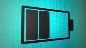 Fondo animado colocado con color de carga del negro del icono de la batería en la pantalla azulverde del pixel Lazo inconsútil ilustración del vector