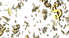 Fondo animado colocado con las marcas de dólar de oro de giro caóticas 3d Lazo inconsútil 4K ilustración del vector