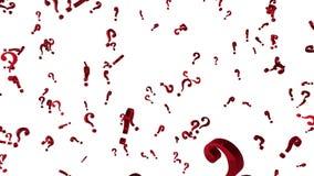 Fondo animado colocado con los signos de interrogación rojos de giro caóticos 3d Lazo inconsútil