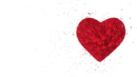 Fondo animado colocado extracto: El corazón de rubíes luminoso giratorio 3d formó pedazos y los cubos del giro rojo con los pedaz almacen de metraje de vídeo