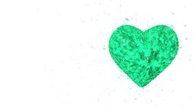 Fondo animado colocado extracto: El corazón esmeralda luminoso giratorio 3d formó pedazos y los cubos del giro verde almacen de video
