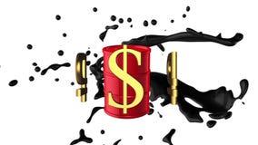 Fondo animado colocado: monedas de oro 3d: el dólar y la rublo-rublo giran alrededor del barril rojo de petróleo con aceite negro ilustración del vector