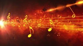 Fondo animado con las notas musicales, notas de la música stock de ilustración