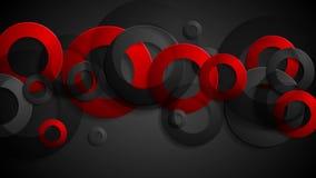 Fondo animado corporativo de los anillos negros rojos abstractos stock de ilustración