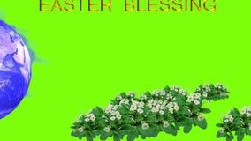 Fondo animado de la tarjeta de pascua con el texto y las flores de la tierra en fondo verde