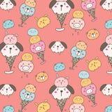 Fondo animal lindo del modelo del helado stock de ilustración