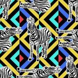 Fondo animale senza cuciture dipinto a mano astratto Modello della zebra Immagine Stock