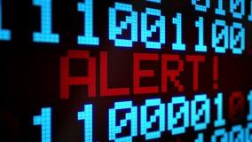 Fondo animato avvolto con le linee correnti con il codice binario ed il colore blu-chiaro e rosso di ALLARME luccicante del testo illustrazione di stock