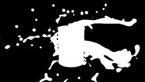 Fondo animato avvolto estratto: Rotazione del barilotto dorato 3d di petrolio con la spruzzata nera dell'olio e delle gocce di ol illustrazione di stock