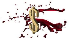 Fondo animato avvolto: il rosso-color scarlatto della spruzzata del sangue 3d gira intorno al simbolo del dollaro dorato sui prec illustrazione di stock
