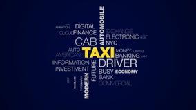 Fondo animato della nuvola di parola di commercio della città dell'automobile della carrozza del tassista del uber moderno metrop illustrazione vettoriale