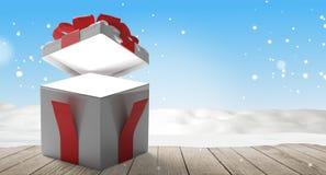 Fondo aperto della scatola 3d-illustration di sorpresa del regalo di natale illustrazione di stock