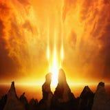 Fondo apocalittico - il Giorno del Giudizio Finale sta venendo, portone ad inferno immagine stock
